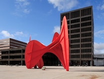 A photo of VandenBerg (Calder) Plaza and Grand Rapids City Hall