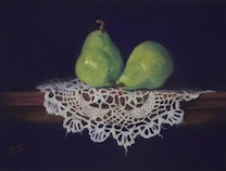 Photo of Two Green Pears on Antique Doily